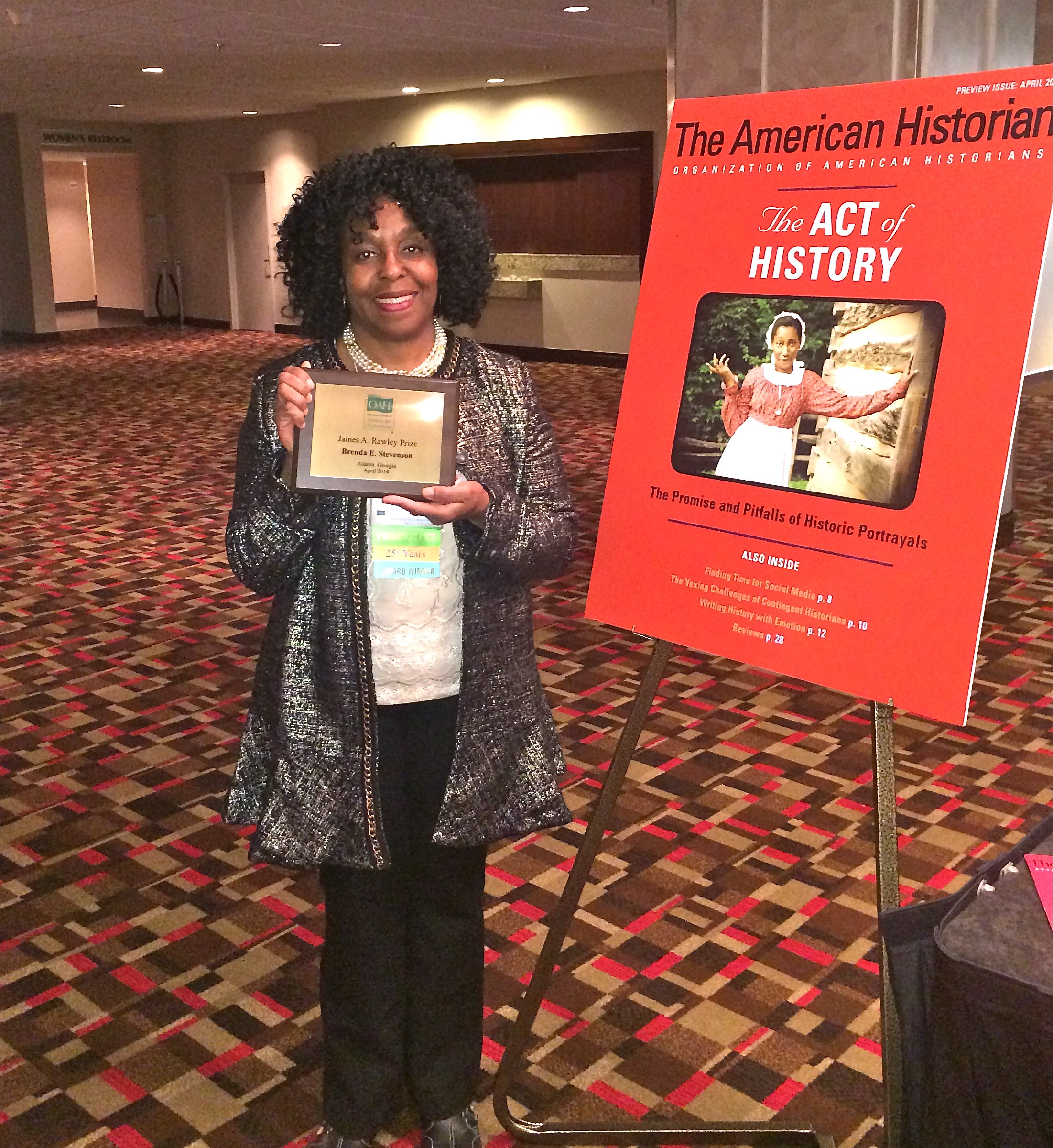 Brenda E. Stevenson Awarded James A. Rawley Prize from the OAH2014 - Brenda E. Stevenson received the James A. Rawley Prize from the Organization of American Historians. The Rawley Prize is awarded to the best book on race relations published that year.