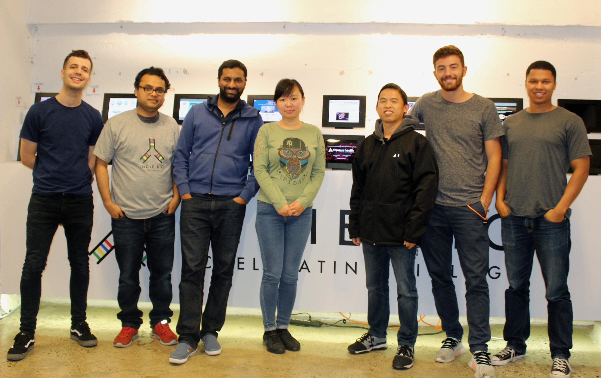 (Left to Right) Mitchell Bond, Ashish Jagtiani, Anand Parikh, Yue Zhao, Ming Yi, Enrico Grassilli, Christopher Everett