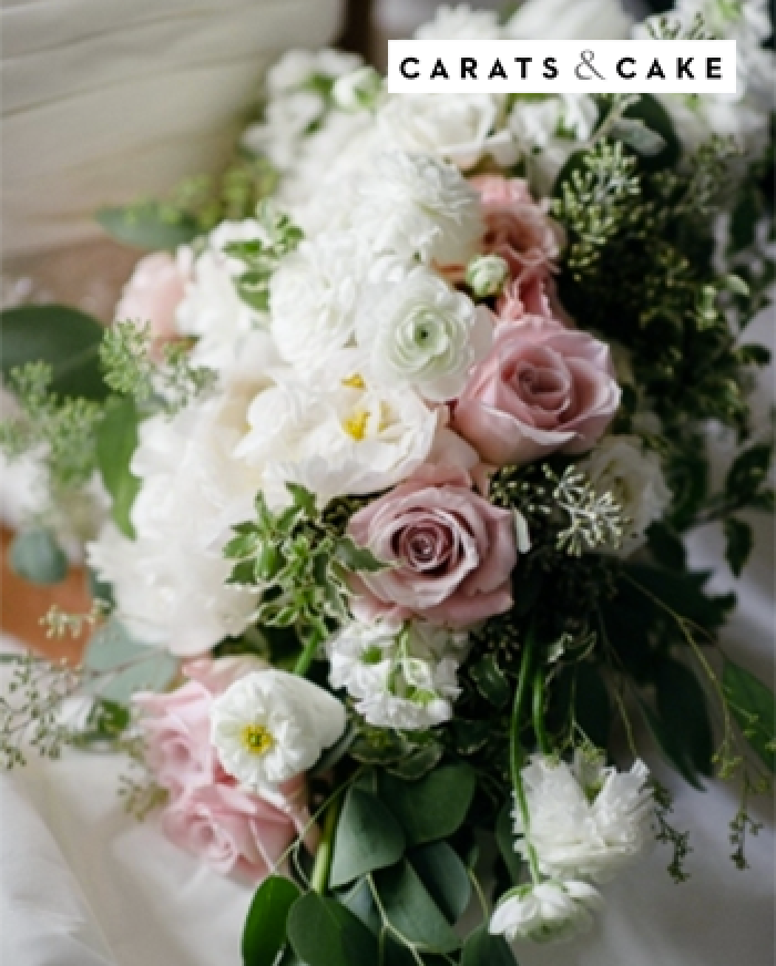 bouquet of white and pink roses - Carats & Cake