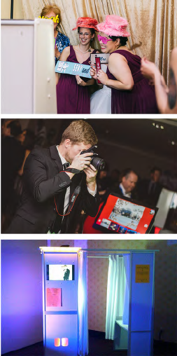 """Top to bottom: """"Open"""", """"Live"""" and """"Closed"""" Photo Booth options"""