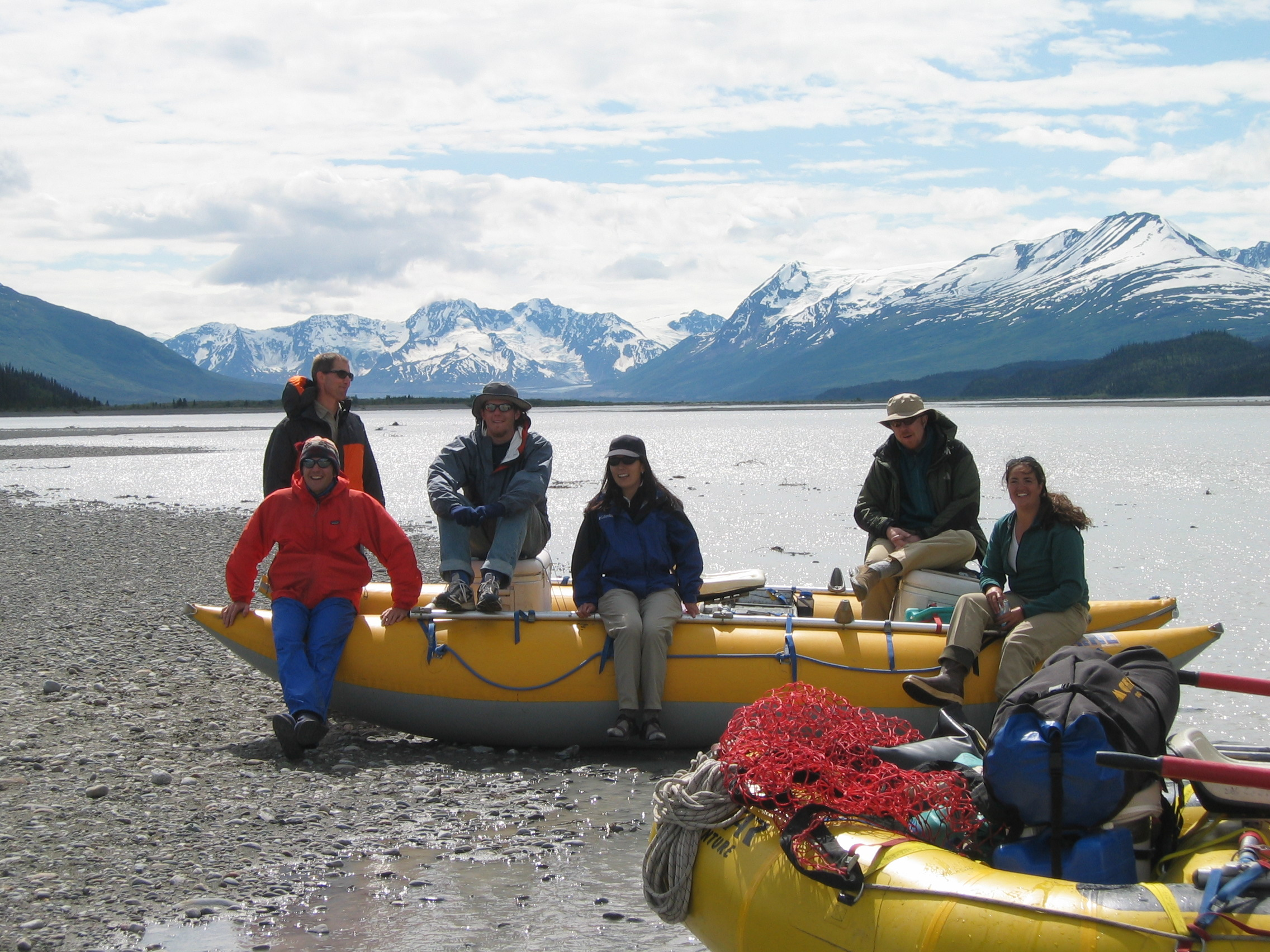 Dropoff Rafting Trips: Resting at the Chitina - Nizina Confluence After a Great Day of Boating