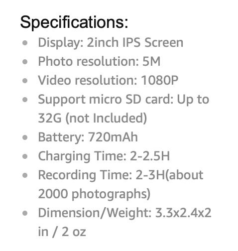 Specifications listed from Amazon.com