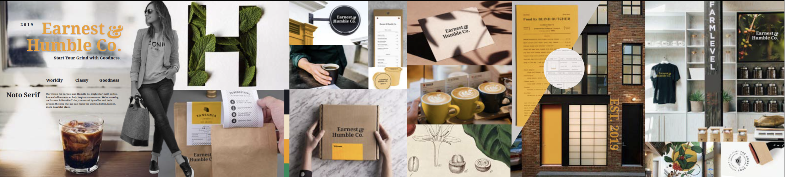 A successful moodboard presented and chosen by Earnest & Humble Coffee (client). Case study on this to come! Note: All images have been pulled for inspiration only, from Pinterest and around the internet and have been edited to fit the vision for this brand.
