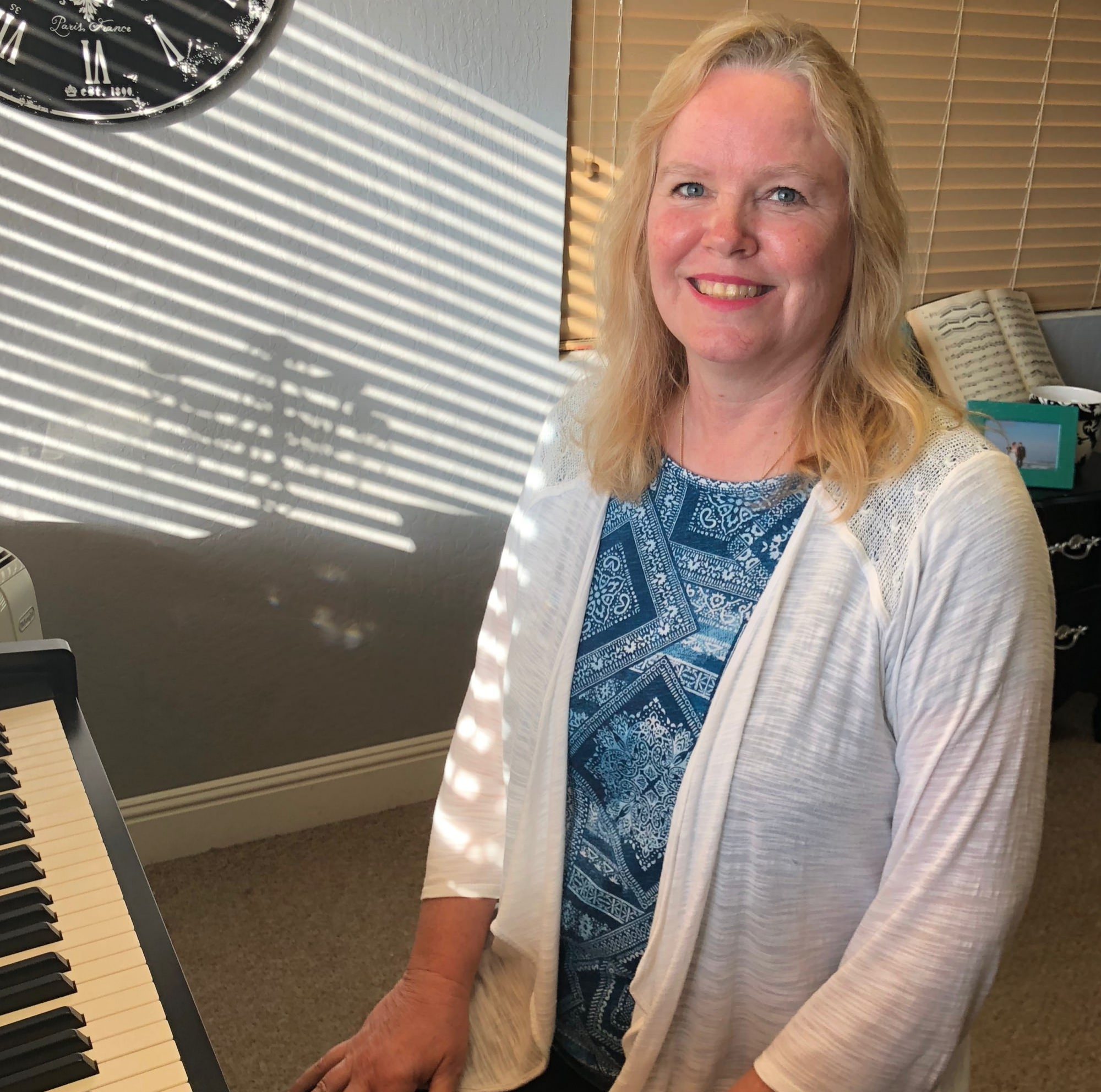 Debbie Dougherty, Certified Simply Music© teacher - Debbie Dougherty first began to play the piano in her early teens, for her own relaxation and enjoyment.After many years as a dedicated caregiver, Debbie heard about Simply Music© and loved the idea and format of the program. Debbie decided to change the direction of her career and begin teaching piano so that she could share her love of this beautiful instrument with others.Debbie acquired compassion and patience in her years as a caregiver, and this comes through in her teaching. It is important to her that each of her students play the piano for their own enjoyment as well as the enjoyment of those around them.Working with families at Roseville Piano Studio has fulfilled Debbie's desire to spark a love of the piano in others. Debbie is excited to share her love of music with each new student in her classes.