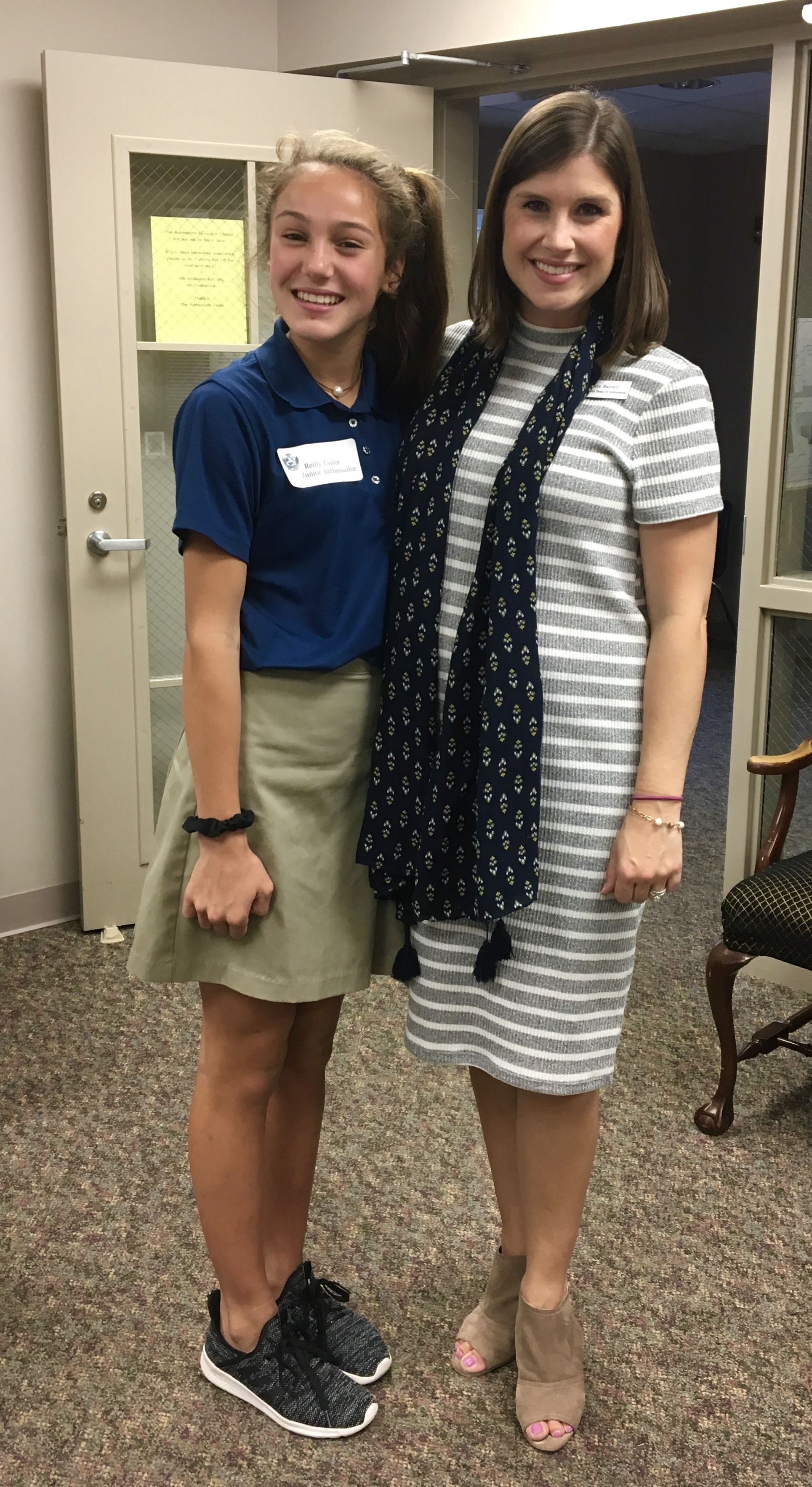 Reilly Taylor, STJ 7th grader, with our Associate Dean of Admissions, Kate Bartlett