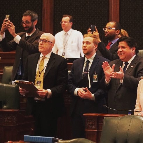 Obviously @rep.willguzzardi and I were excited.  Amazing day. J.B. Pritzker delivered on a promise: to give voters a chance to vote for lower taxes for the middle class. I carried this bill for five years, so this was a real special day.