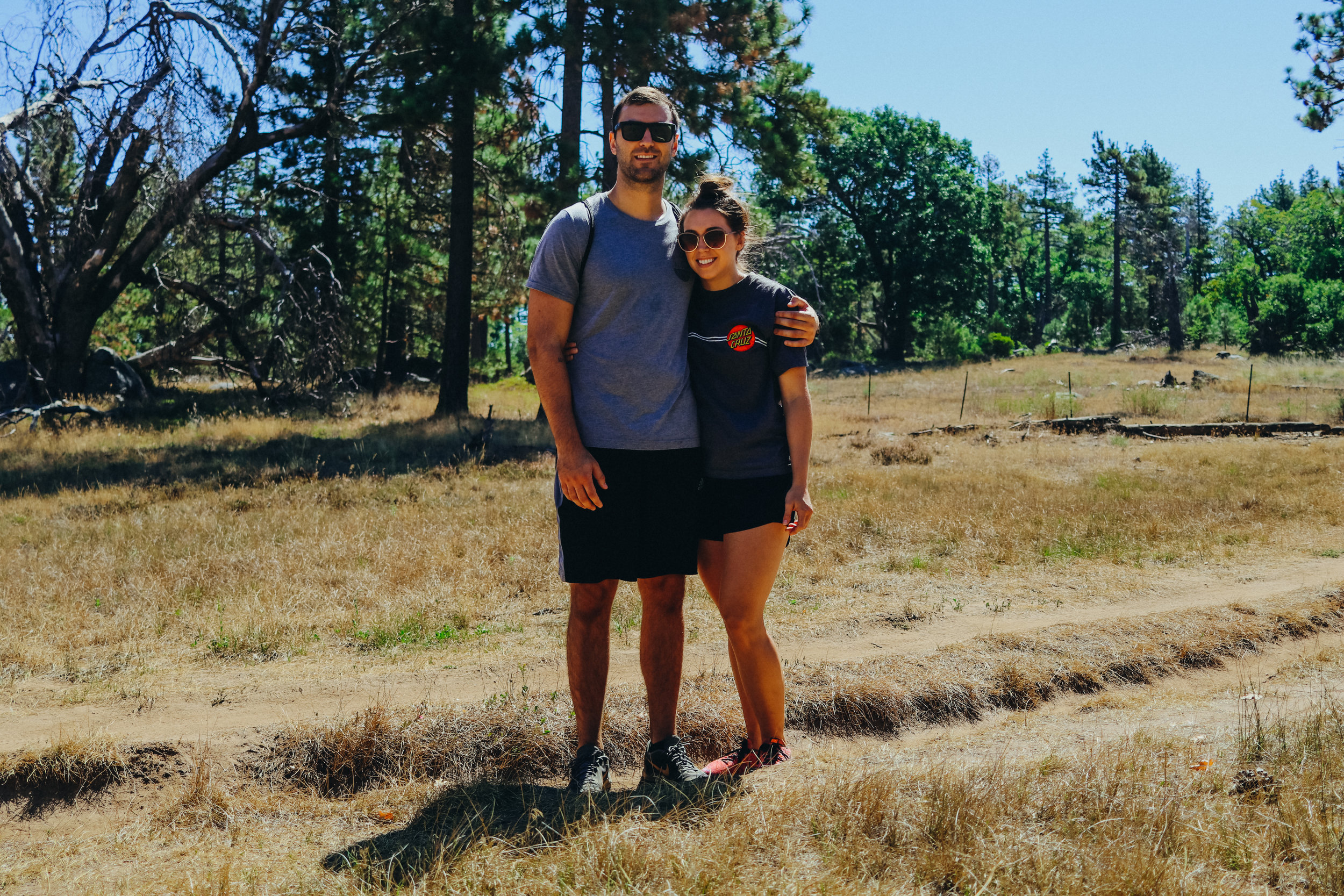 We found a stump in the clearing and used it for a self-timer. It was a beautiful day in Mount Laguna.