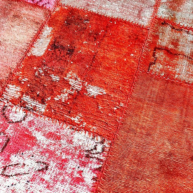 Hot stuff for summer. Vintage Turkish rugs reassembled into one attention grabbing carpet. #timothypaulcarpets #timothypaulhome #beachhousedecor #pinkdecor #designingwithcolor #costalinteriors #coral #rockbandrugs