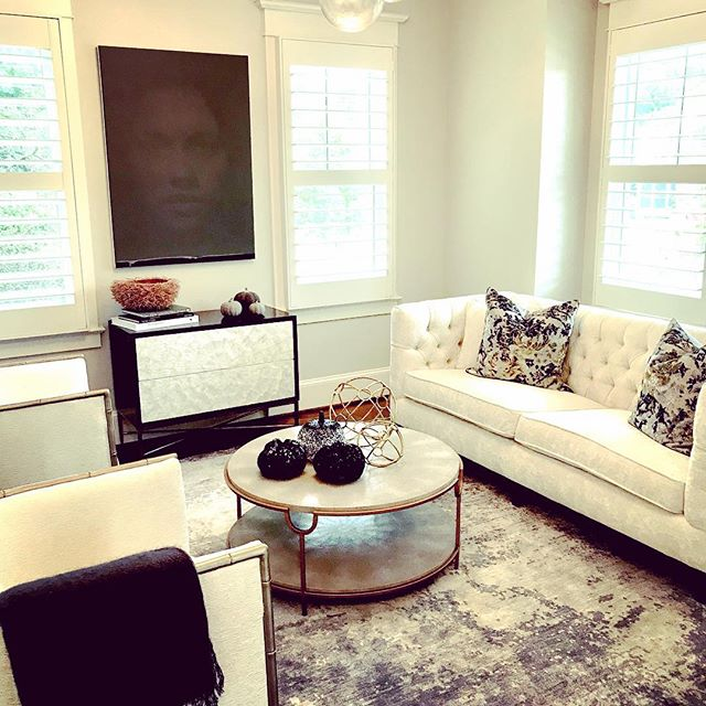 A painterly carpet design fits nicely in this collaborative living room in Arlington Va. #timothypaulcarpets #modernrugs #blueinteriors  @mauramccool