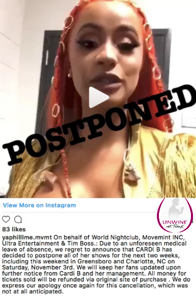 Cardi B Allegedly Sufferers Another Seizure  Forced to Cancel Performances in North Carolina.png