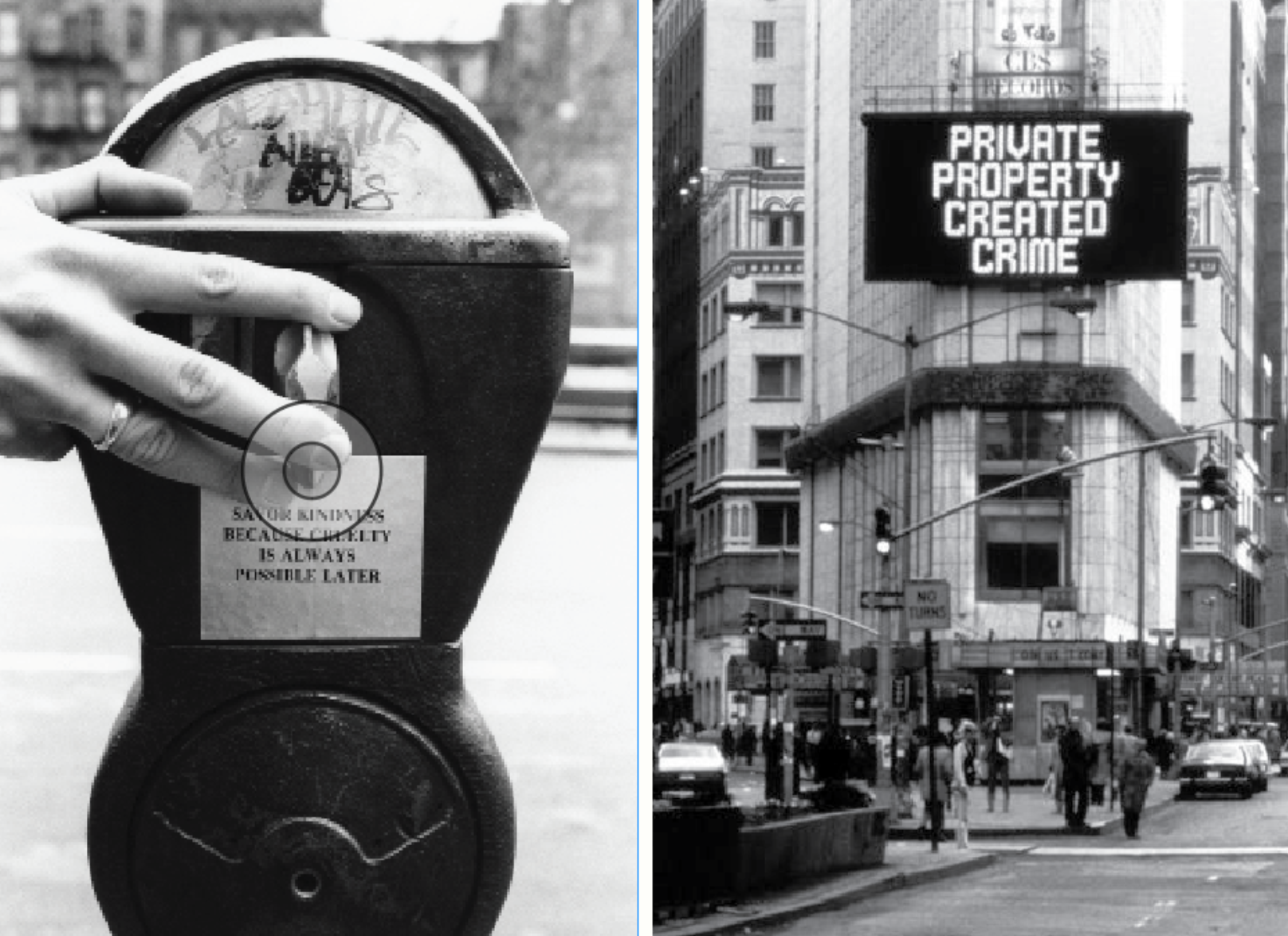 left: from  survival  by jenny holzer, 1983–85  —  right: from  truisms  by jenny holzer, 1977–79