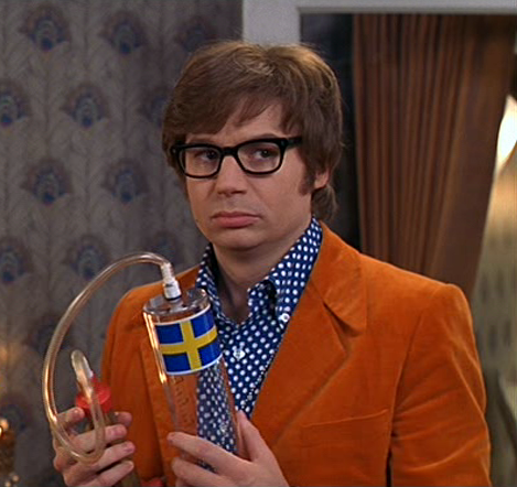 Austin Powers and the infamous 'it's not mine baby, it's not mine' device.