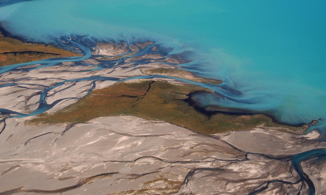 Godley River Flows into Lake Tekapo.
