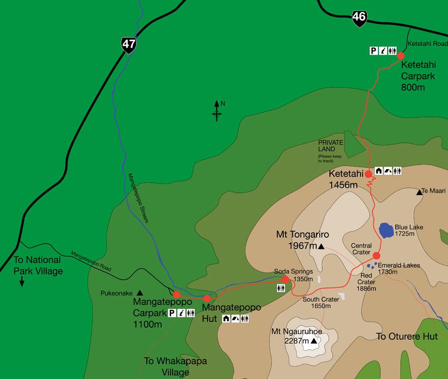 Tongariro Crossing Map, Altitude and Amenities.