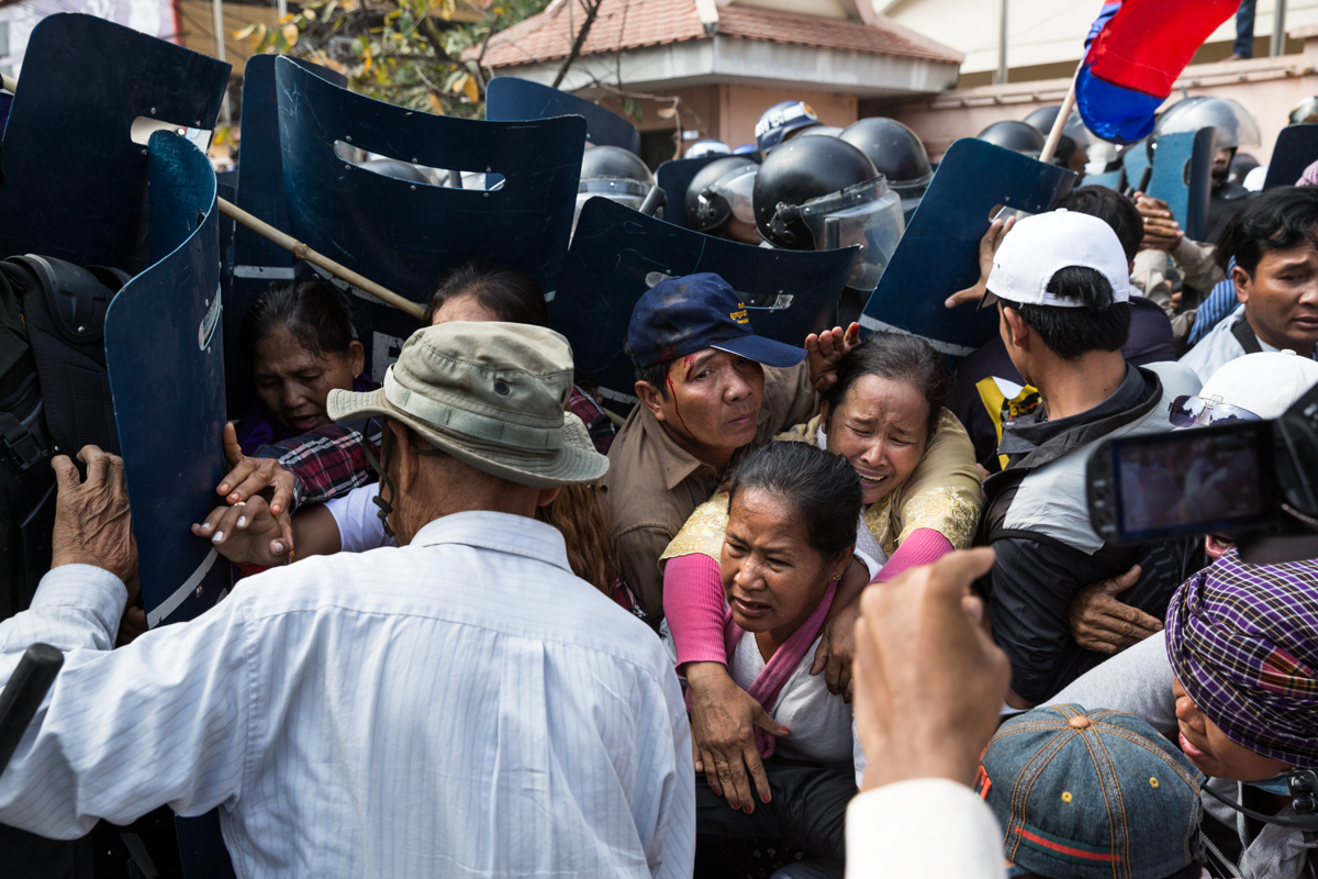 Jan 27, 2014 - Phnom Penh, Cambodia. Mam Sonando, Cambodian radio journalist and politician led a demonstration demanding the right to broadcast. TV, radio and the press is generally managed and monitored by the state. © Nicolas Axelrod / Ruom