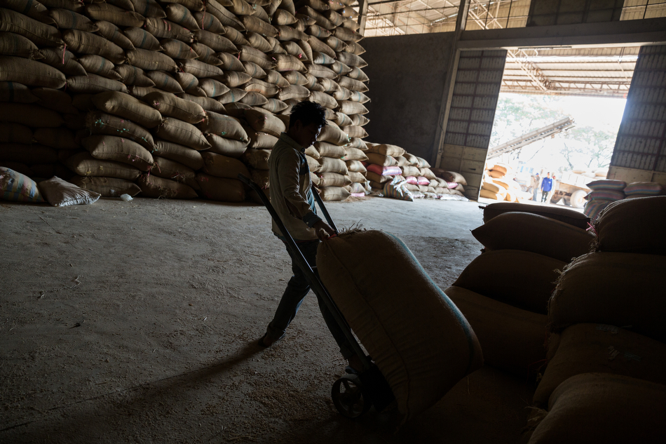 January 29, 2014 - Battambang, Cambodia. Rice is milled in a factory. Rice milling - gasifier © Nicolas Axelrod / Ruom for SNV