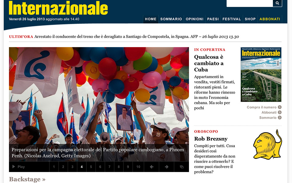 Nicolas Axelrod: Internazionale home page for Friday 26th of Jan.