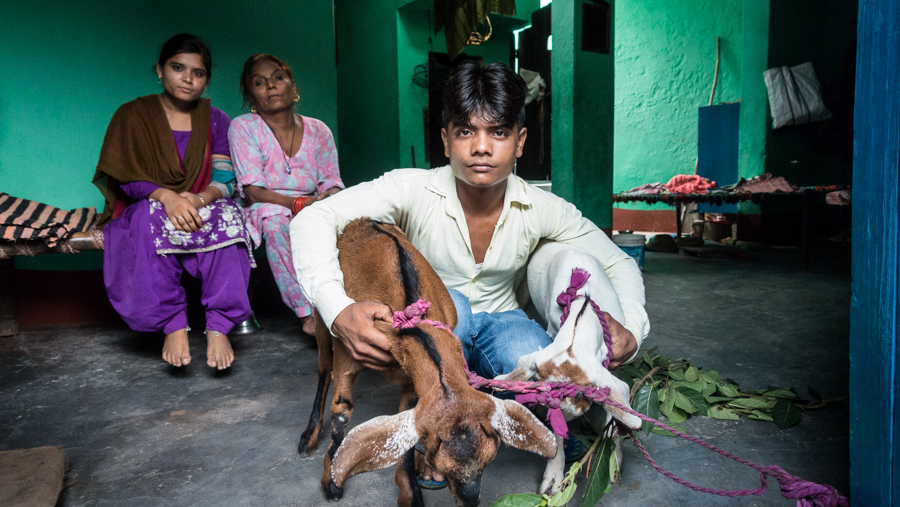 July 19, 2016 - Moradabad, India. A family poses for a portrait in their home. © Nicolas Axelrod / Ruom