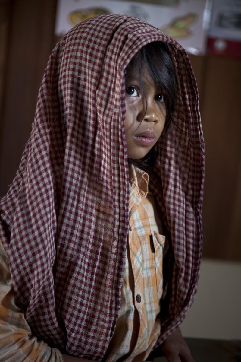 Teun Byol (8) at the Laoka health centre. Mondulkiri.