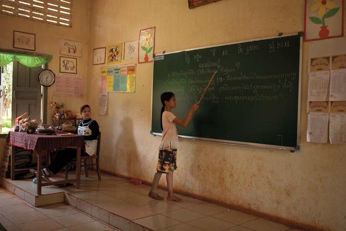 May 10, 2011- Memot, Cambodia. Kanha attends classes at the Bun Rany Hun Sen Primary school. � Nicolas Axelrod for HI
