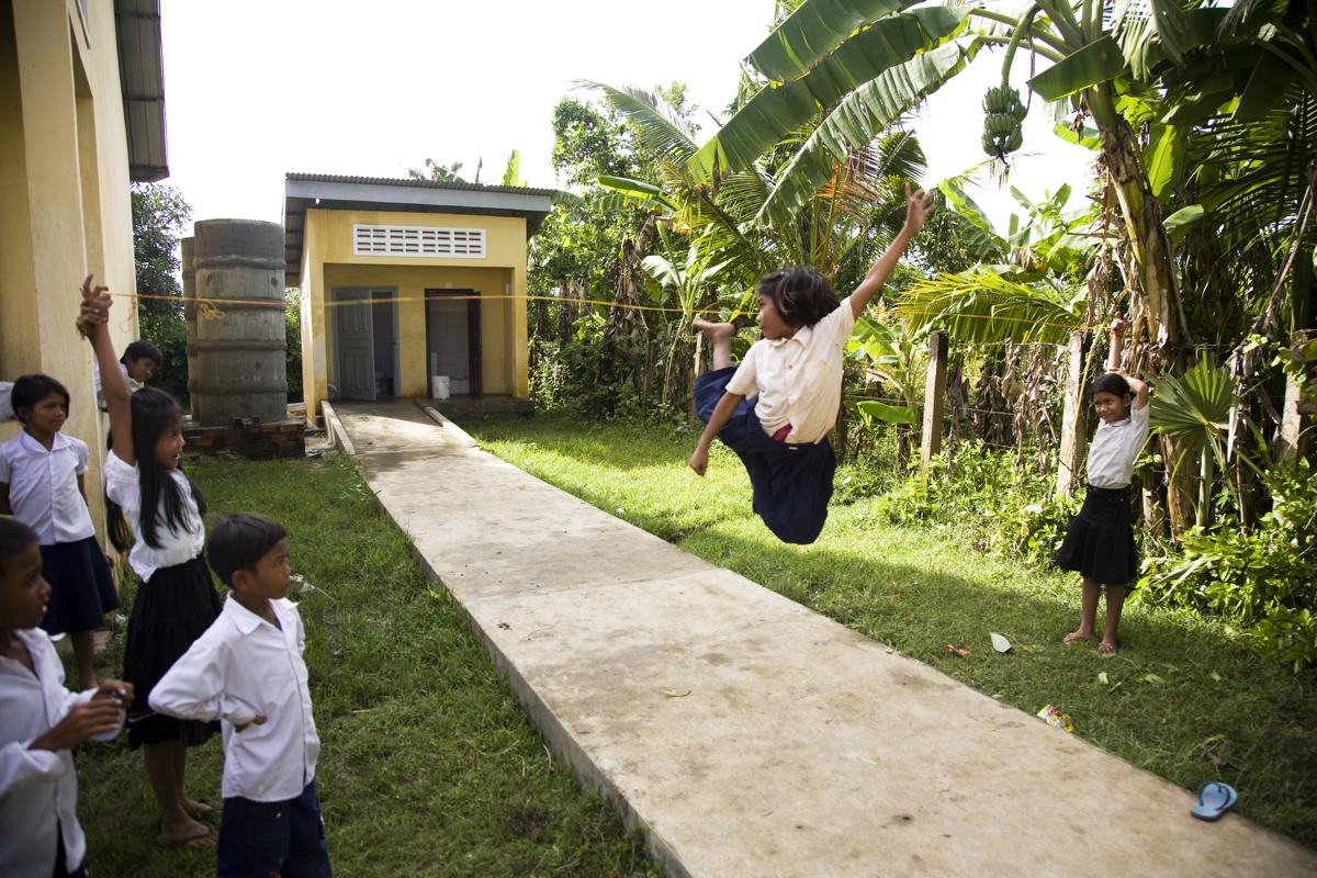 Nov. 04, 2008 - Battambang, Cambodia. A girl plays on an wheelchair access ramp. � Nicolas Axelrod for HI