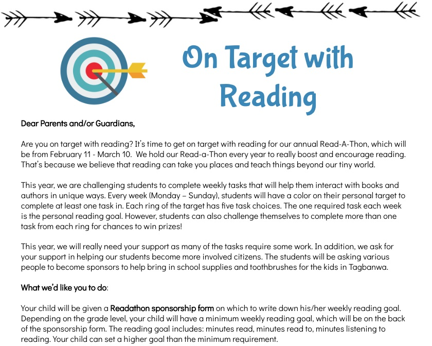 A Read-A-Thon info sheet provided by Miss Hake  Click to enlarge the image