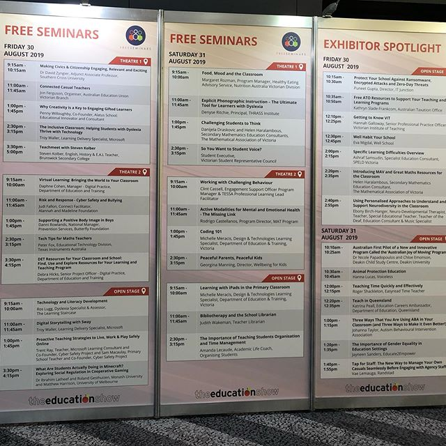 A range of free seminars are on offer today and tomorrow at @theedushow.  Free registration available at the door at the Melbourne Convention and Exhibition Centre. #theedushowau