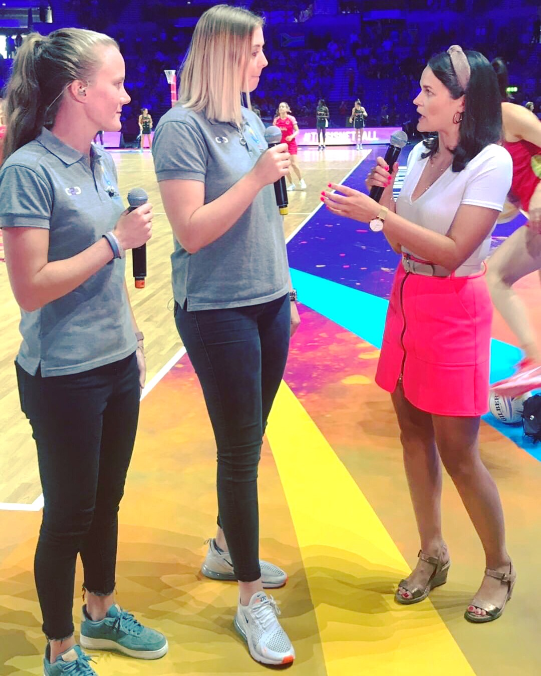 England team players Gabby Marshall and Ellie Cadwell joining me courtside