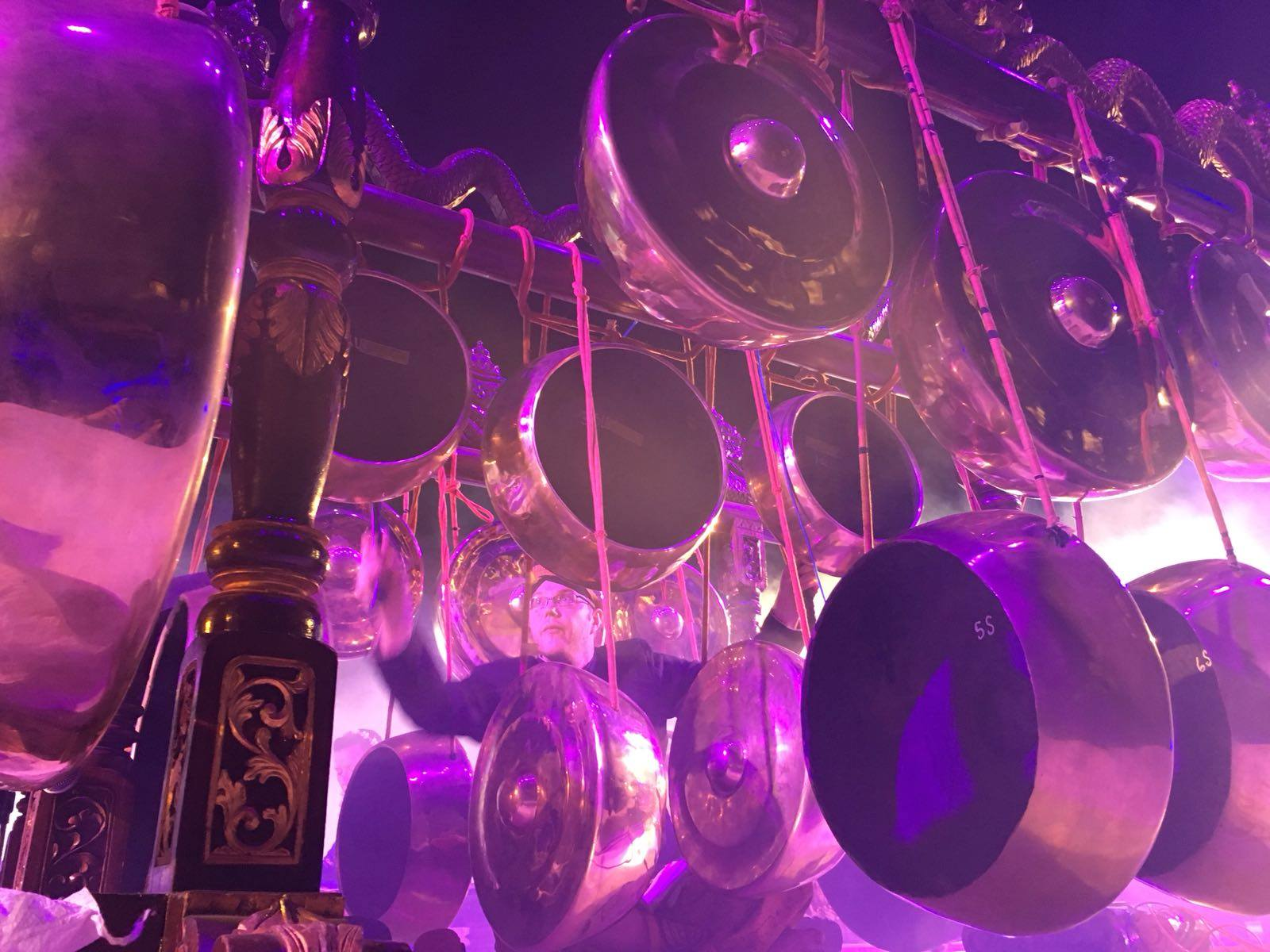 Impressive gong rack at one of our gigs at the International Gamelan Festival in Solo, Java (pic by one of our dancers Andrea Rutkowski)