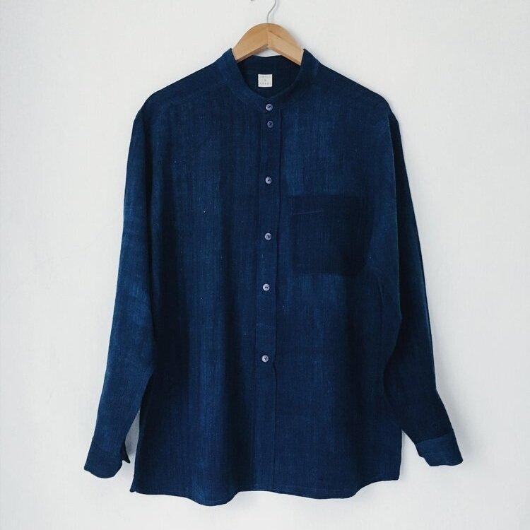 Emily & Khadi Indigo Collarless Shirt,  £130,  Buy now