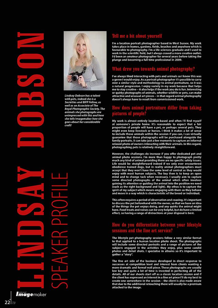 Professional Imagemaker Magazine Interview June 2014