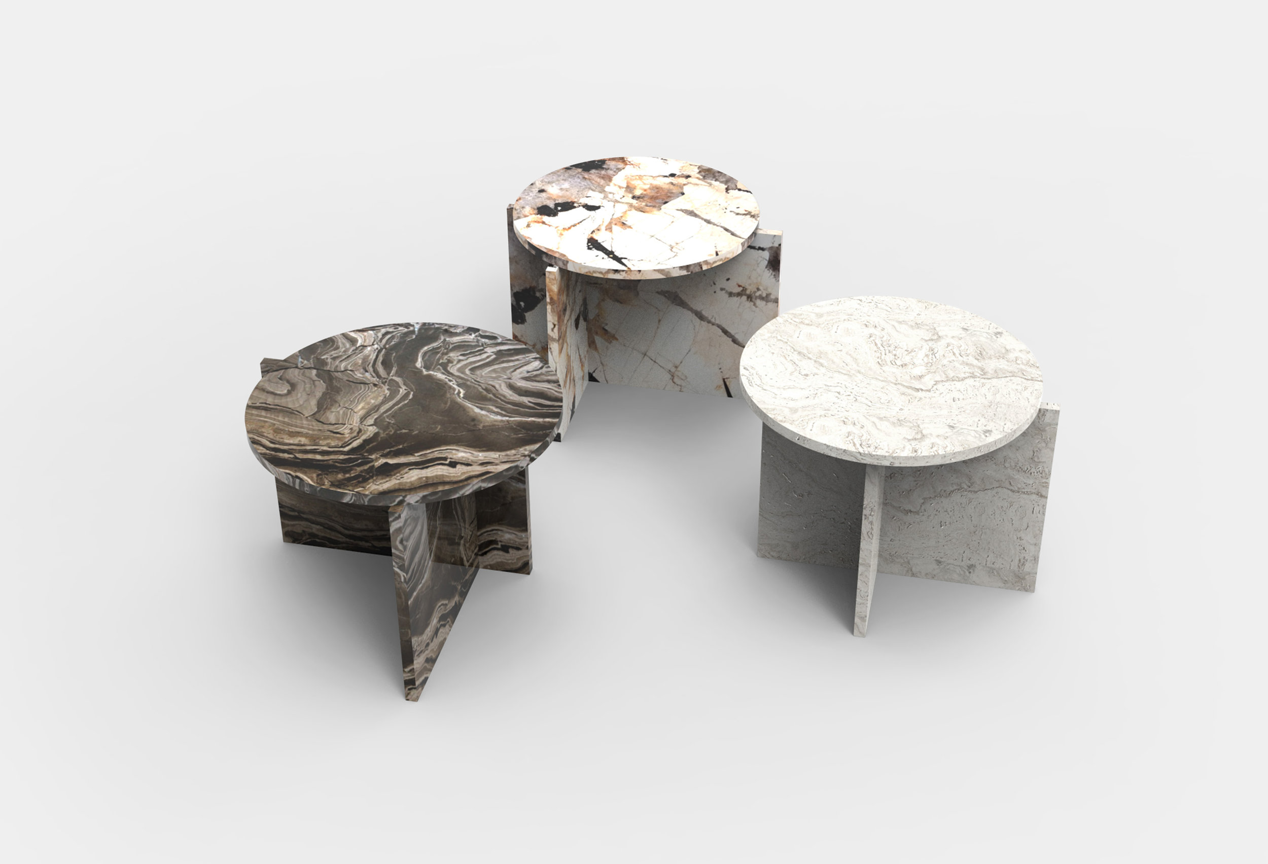- ORIGINCoffee tables made to showcase the beauty of natural stone.Two pieces of stone meet off-center with the table top.The Origin tables are created with no visible construction and are available in a number of different stones.