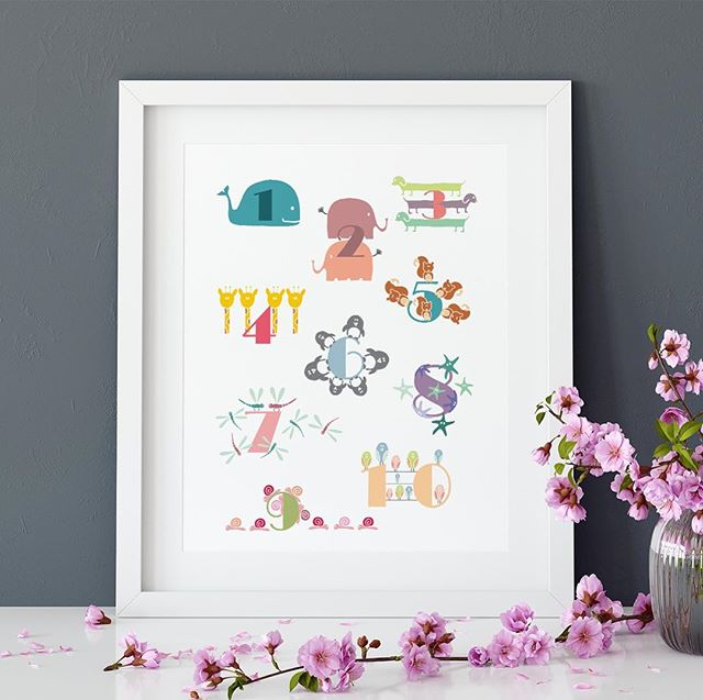 1 to 10 ! 🐶🐧🐳🐌A funny way to learn to count with this animals numbers print, a perfect baby shower or birth gift ! 👶🏼🎁