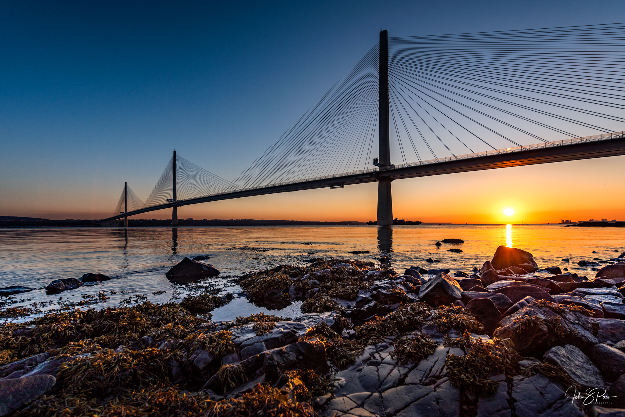 The Queensferry Crossing at Sunset.