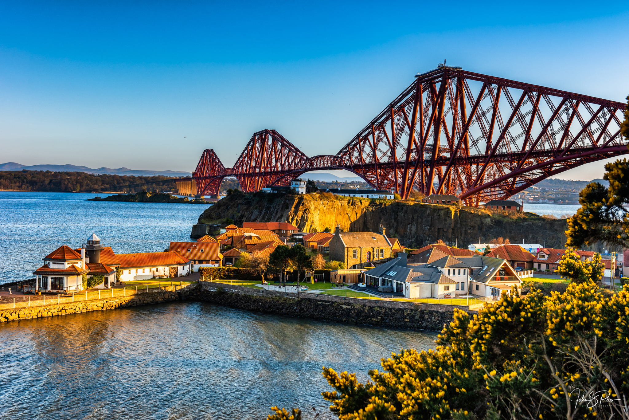 The Forth Bridge seen from the east side.