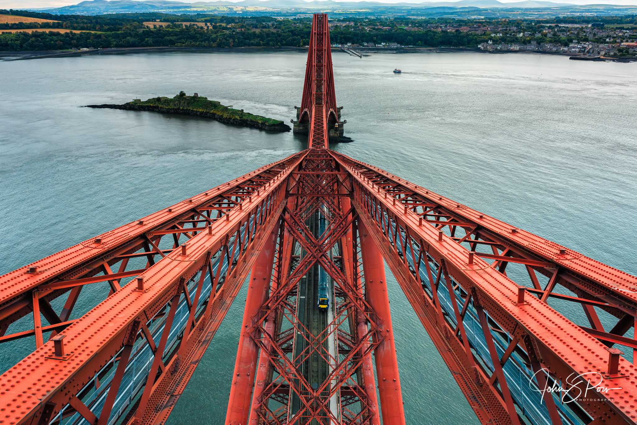 The view from the top of the Forth Bridge.