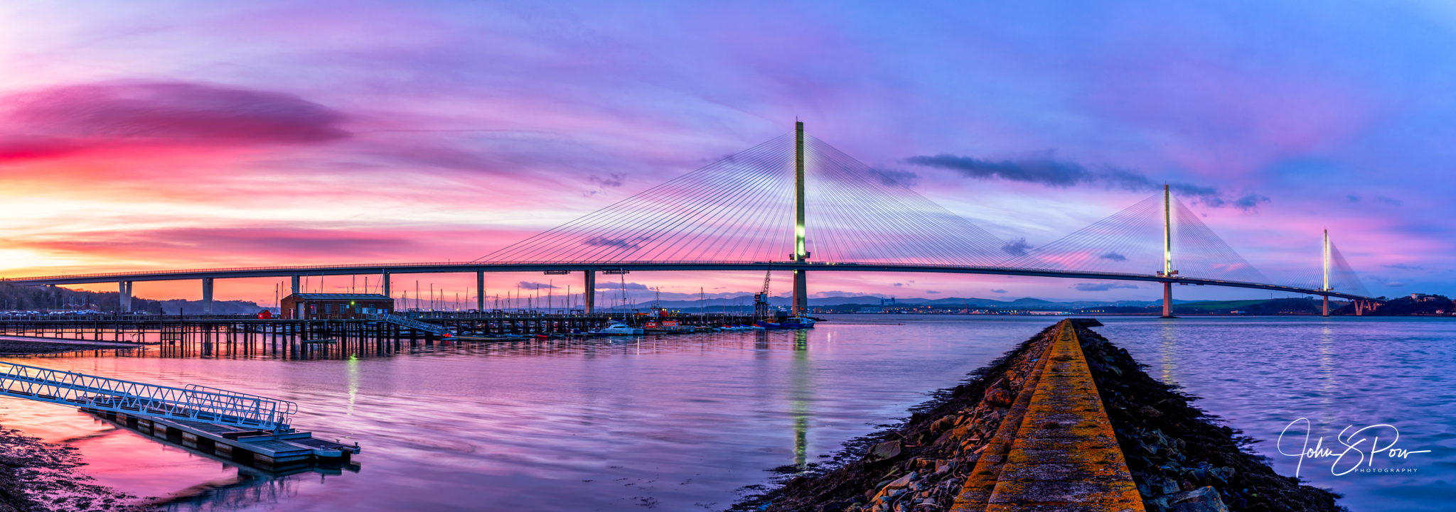 Queensferry Crossing at Sunset.