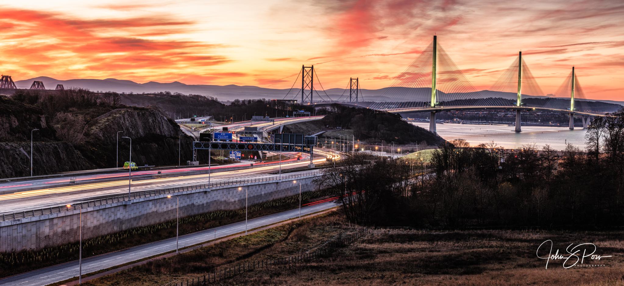 Sunrise over the Bridges.