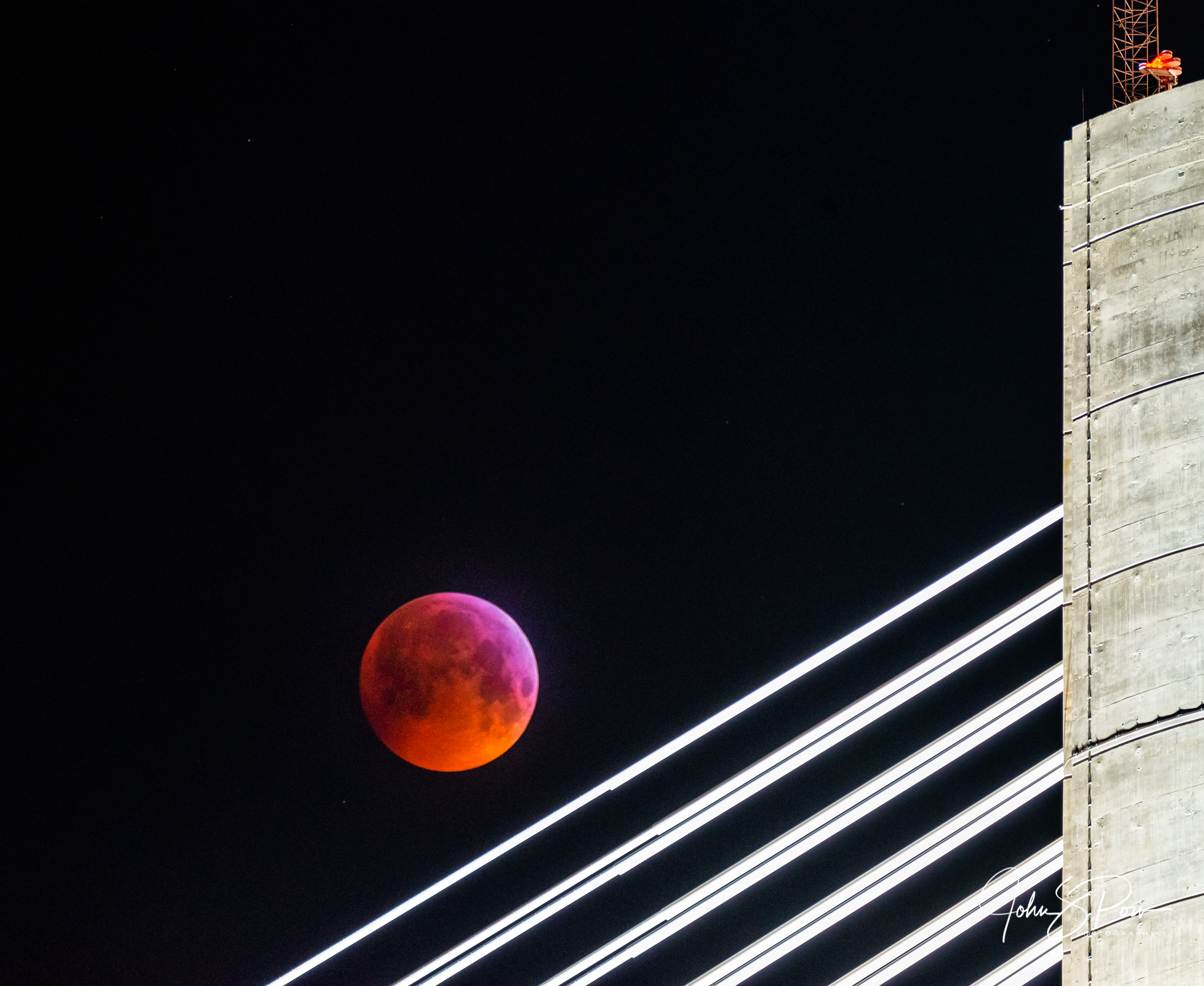 The Wolf Moon over the Queensferry Crossing.
