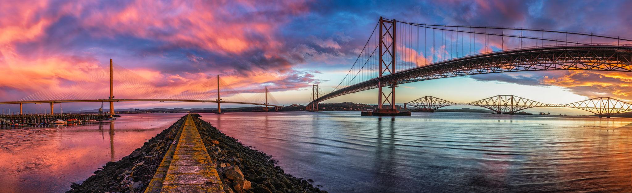 An insane sunrise over the Three Bridges.