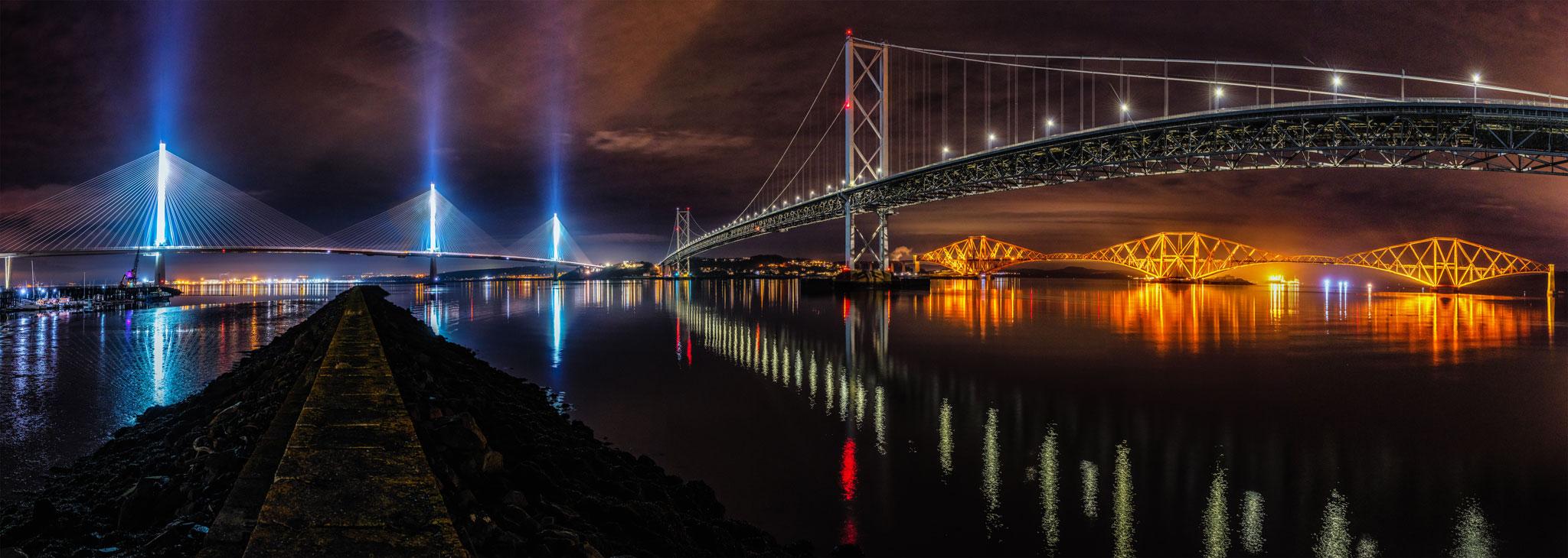 The Three Bridges at Night.