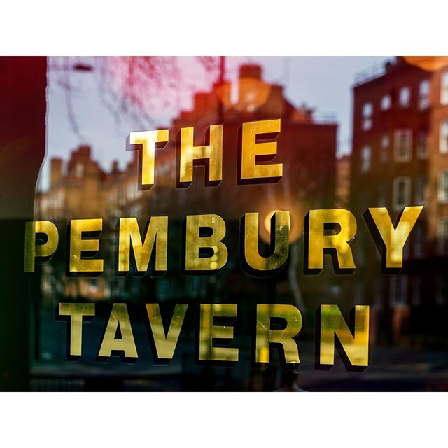 Gold lettering in the window at The Pembury Tavern, Five Points' first taproom. The identity is based on the original lettering at the top of the building, visible in old photographs but since destroyed. @pemburytavern       #design #graphicdesign #branding #type #typography #pembury #thepemburytavern #pub #taproom #fivepoints #thefivepointsbrewingcompany