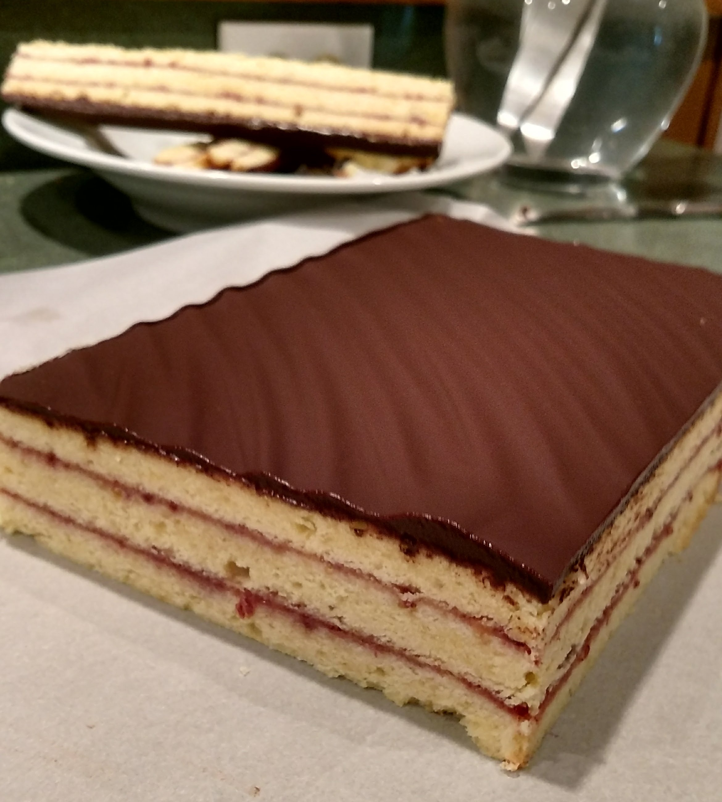 """Almond Sponge petit fours with ganache and cherry jam filling - """"Italian Rainbow cookies…without the coloring"""