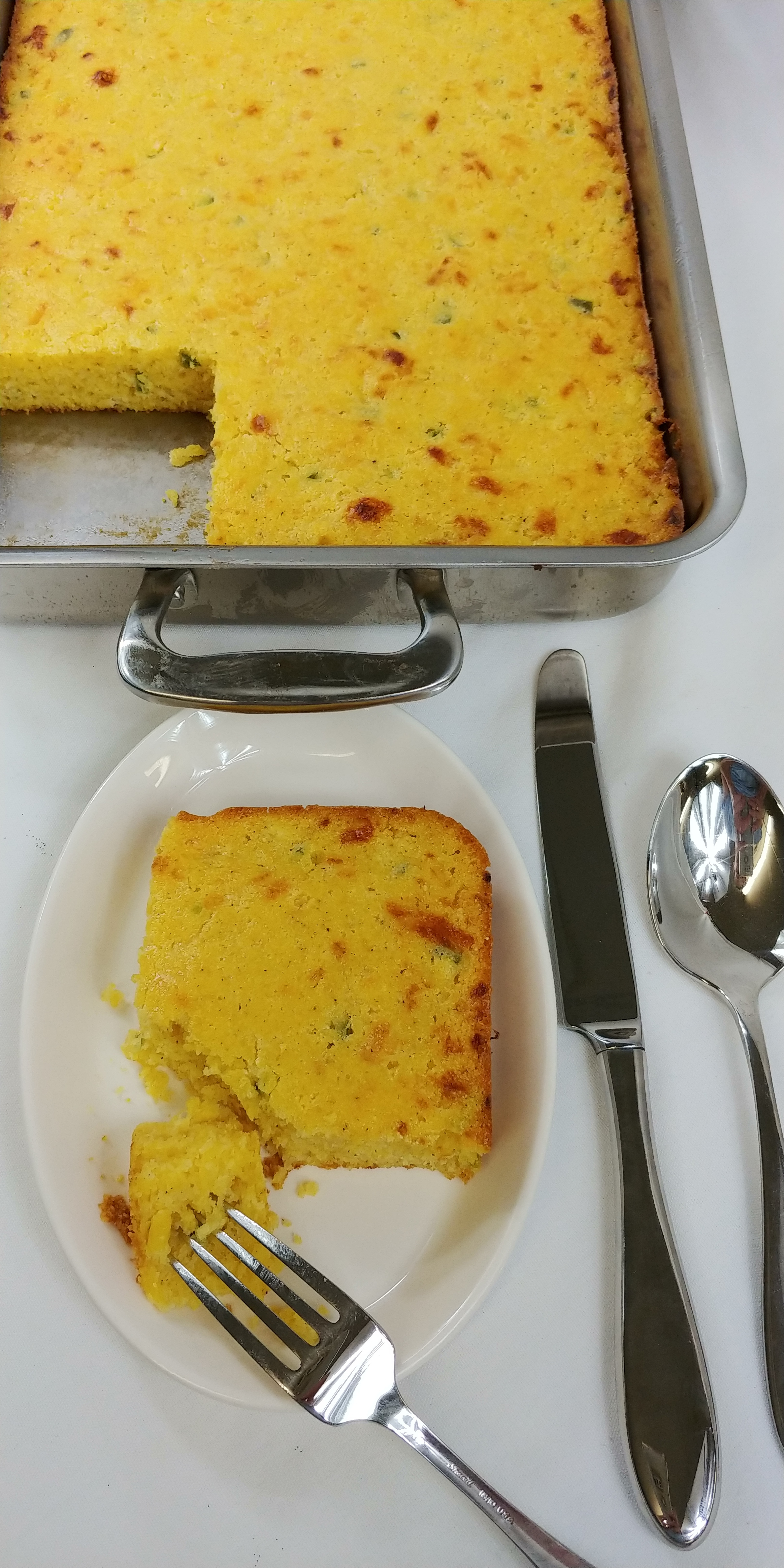 Liberty tabletop's Betsy Ross flatware pair beautifully with this cornbread