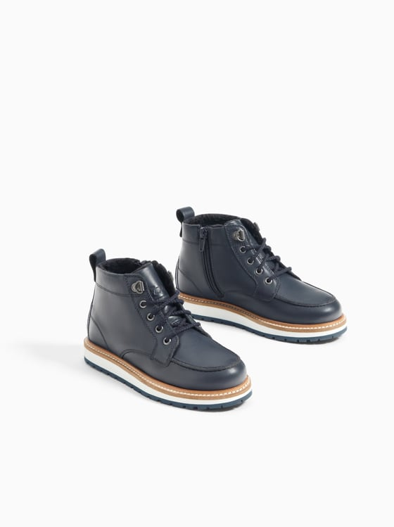Leather Boot Lined - Navy Blue