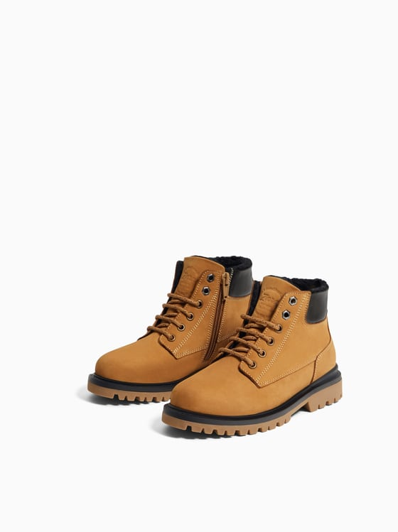 Leather Boot Lined - Mustard