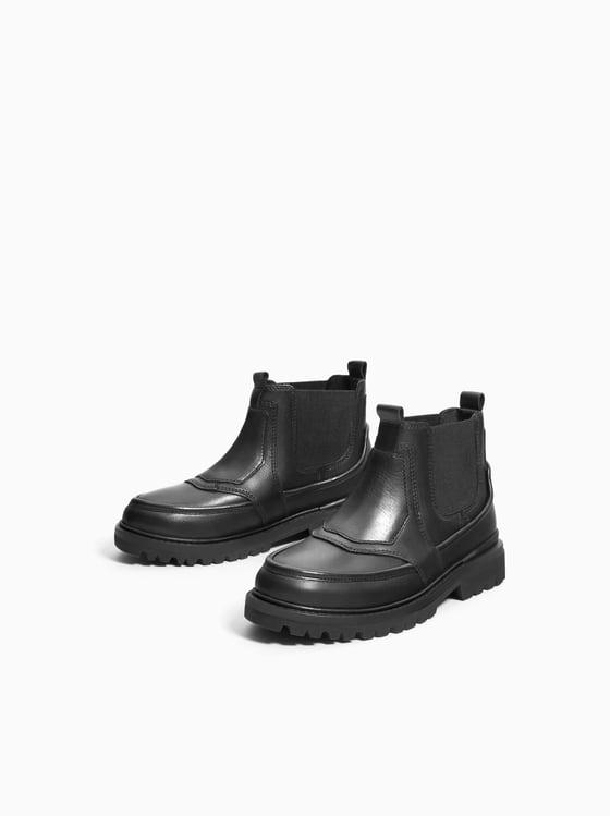 Elastic Leather Boot - Black