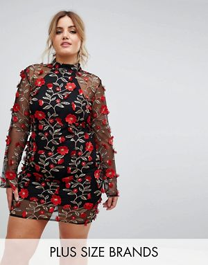 High Neck Red Rose Embroidered Dress
