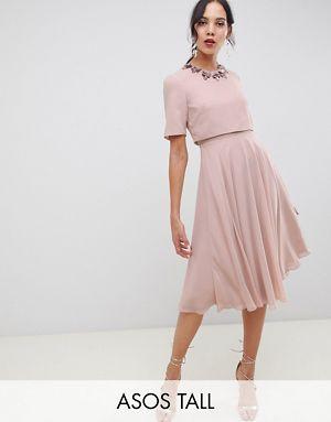 Midi Dress 3D Embellished Neckline