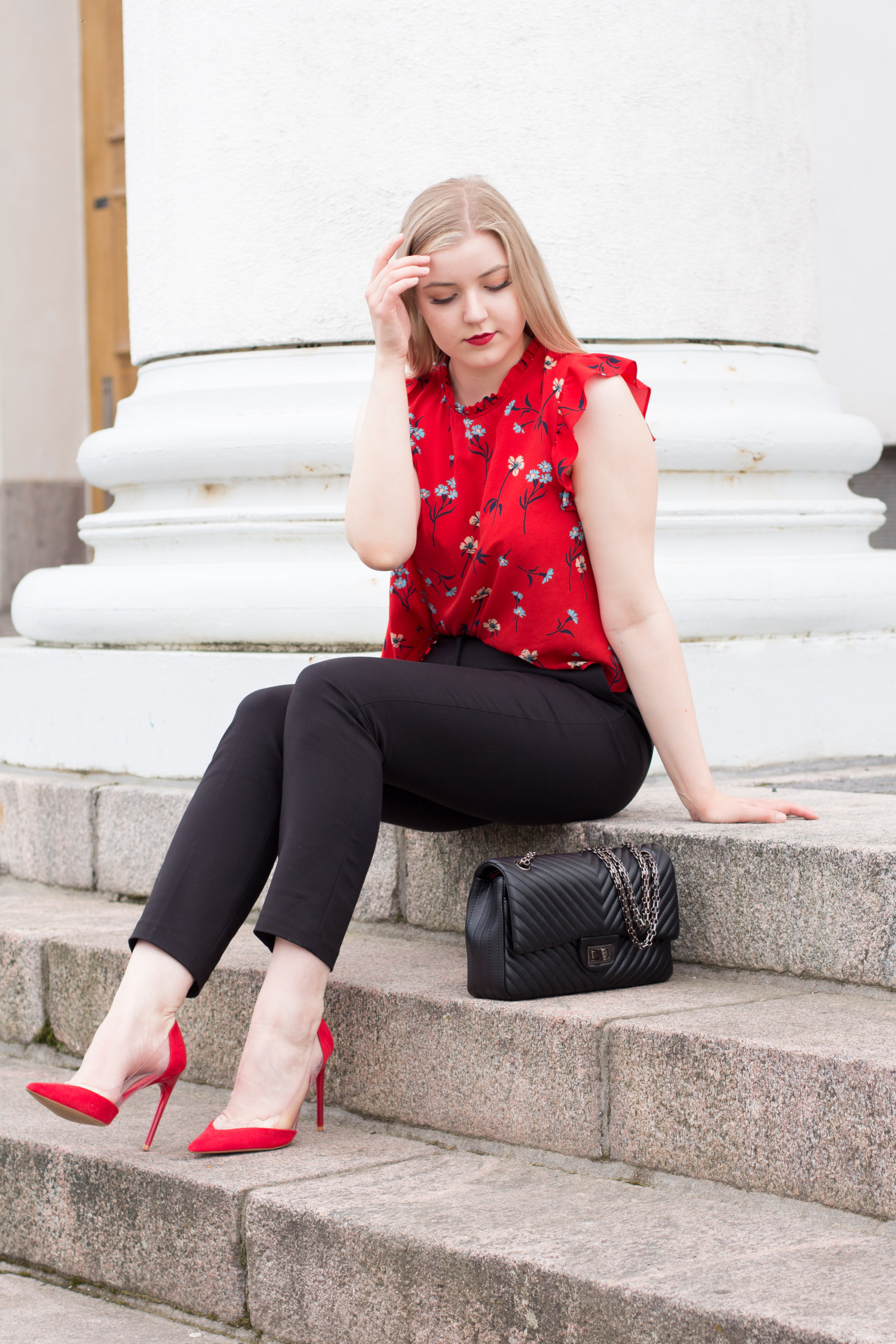 Red floral shirt outfit